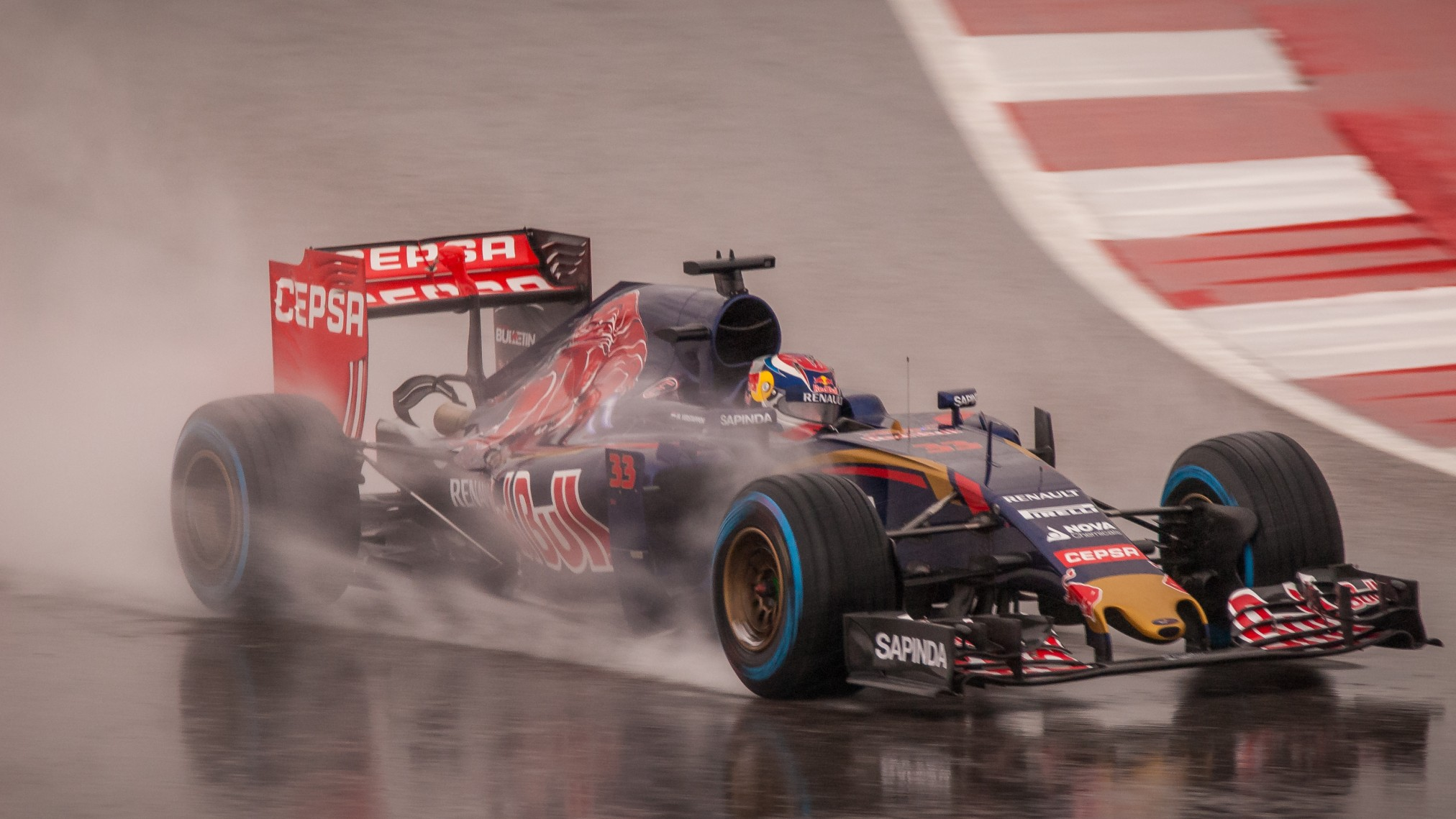 Max Verstappen showing he can race in wet conditions. Photograph: Joe McGowan