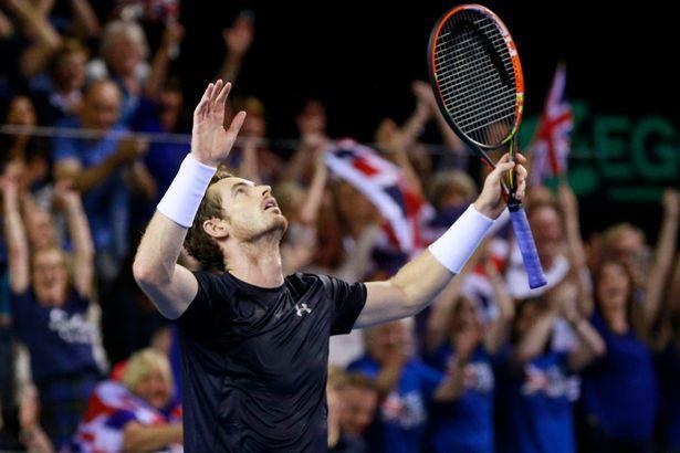 Andy Murray making history at the Davis Cup. Photograph: Jason Cairnduff