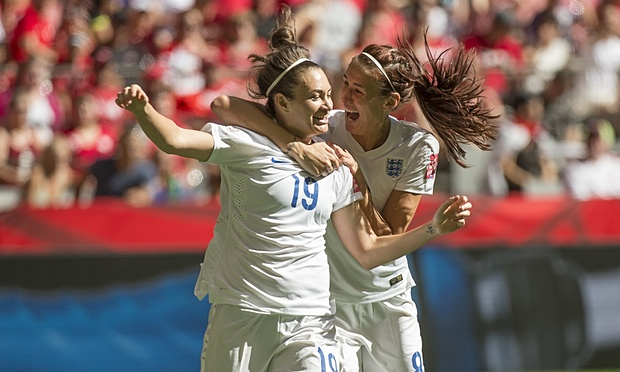 Jodie Taylor and Jill Scott celebrating the first goal in the 2015 World Cup. Image courtesy of theguardian.com