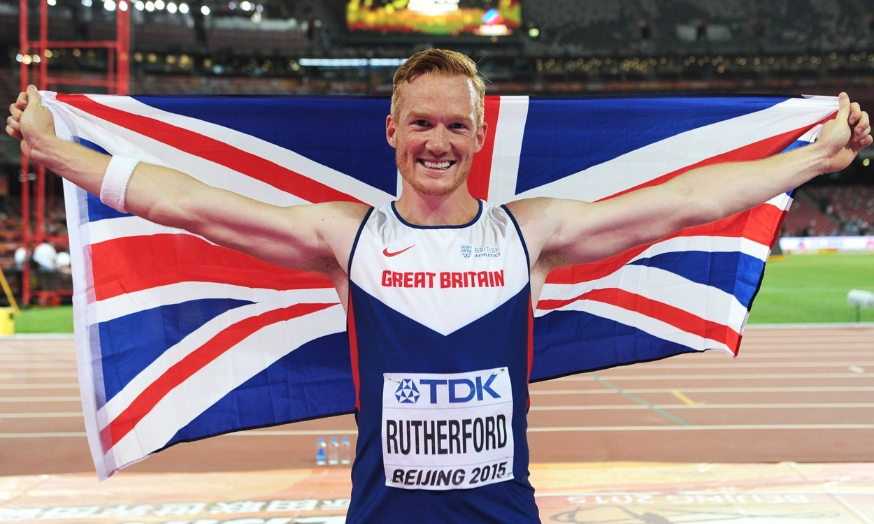 Greg Rutherford triumphant at the Beijing World Championships. Image courtesy of atheleticsweekly.com